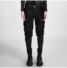 Women's Multiple Pocket Lace Up Buttons Casual Bootcut Capri Pants K 256