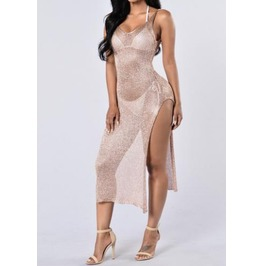 Knit Gold Lux Dress Swim Cover Up