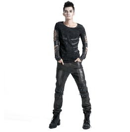 Men's Black Leather Gothic Pant With Rivets