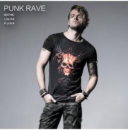 Men's Skull Printed Punk T Shirt With Rivets