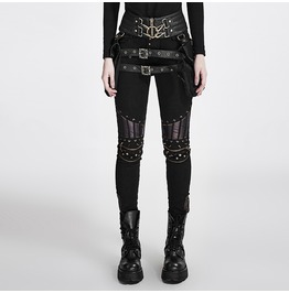 Punk Rave Women's Steampunk Rivets Slim Fitted Pants K 258