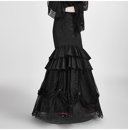 Gothic Floral Embroideried Multilayer Fishtail Skirts Two Ways To Wear Q 297
