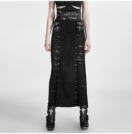 Punk Rave Women's Steampunk Buckle Up Side Slit Maxi Skirt Q 298