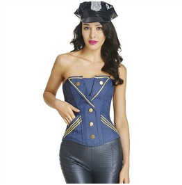 Steampunk Gold Buttons Side Pockets Overbust Corset
