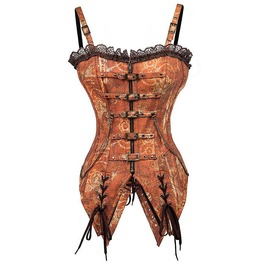 Steampunk Vintage Print Buckle Straps Overbust Corset