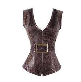 Steampunk Patchwork Pu Leather Zip Up Overbust Corset