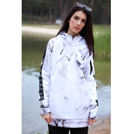Smoke White Hoodie With Replaceable Mask