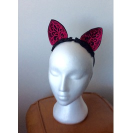 Black And Hot Pink Cat Ears Hairband Hair Accessory