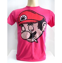 New Men Graphic Mario Smoking Cotton T Shirt Graphic Size M