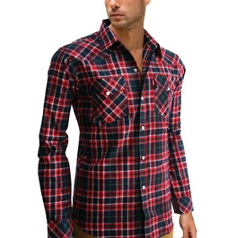New Men Cotton Plaid Check Western Lumberjack Long Sleeve Shirt Size Xl
