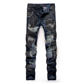 Patched Jeans With Studs