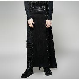 Punk Rave Men's Steampunk Buckle Up Side Slit Maxi Skirt Q 298
