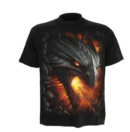 Black New Men,S Dragon Flames Rock Guardian T Shirt