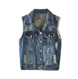Denim Ripped Vest Skull Studs