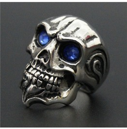 Stainless Steel Ring Blue Eye Skull