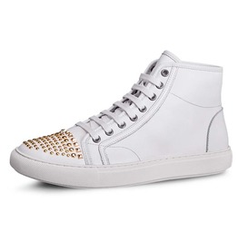 White Hightop Sneaker Studded Toe Caps