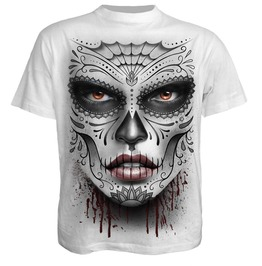 Men White Blood Skulls Roses Death Mask T Shirt