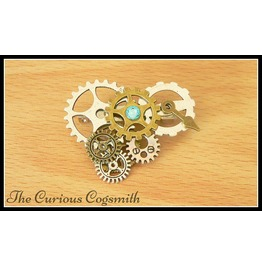 Aquamarine Steampunk Brooch