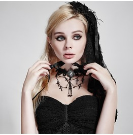 Punk Rave Gothic Vampires Lace Metal Chain Cross Crochet Choker S 187