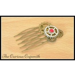 Red Steampunk Hair Comb