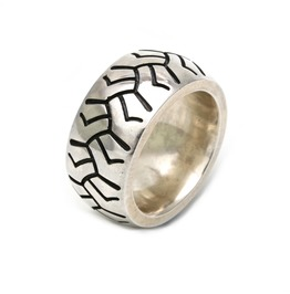 """Very Heavy Sterling Silver Ring """"Tyre"""" 1,16 Oz Statement Ring Biker Racing"""