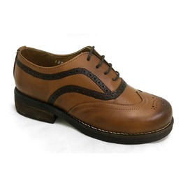 Omarello Venne Honey Brown Leather Brogue Oxford Shoes