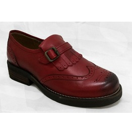 Omarelo Venne Red Leather Monk Loafers Shoes