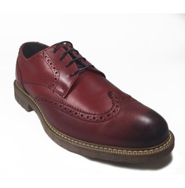 Omarelo Venne Red Tanning Treated Leather Monk Brogue Loafer Shoe