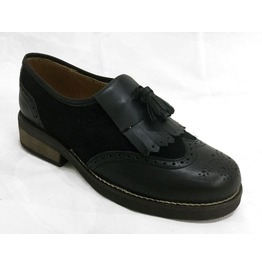 Omarello Venne Black Leather Ladies Loafers Shoes 1960's Style