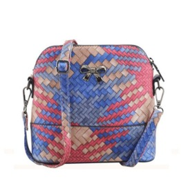 Women Hit Color Diagonal Shoulder Bag Shell Handbag Red ,Blue And Brown