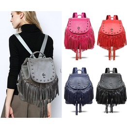 Handbag Fashion Punk Rivet Tassel Bag Backpack Shoulder Bag Lady