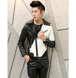 Men's White Black Mix Color Pu Leather Motorcycle Jacket
