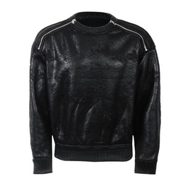 Waxed Sweatshirt Shoulder Zippers