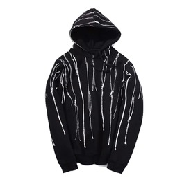 Black Hoodie With Zipper Prints