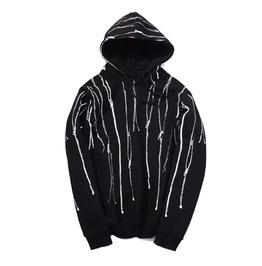 Black Hoodie With Zipper Prints