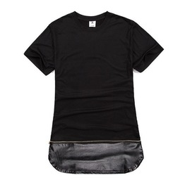 Long T Shirt With Faux Leather Bottom