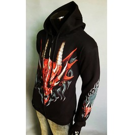 Dragon Hood Rock Punk Men Black Hoody Mens Men's Hoodies & Sweatshirts