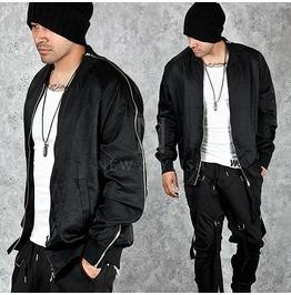 Shoulder To Cuff Zipper Accent Black Blouson Jacket 202