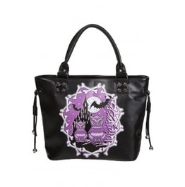 Owl At Midnight Bag, Gothic Bag, Bat Bag, Purple Bag, Midnight Owl Bag