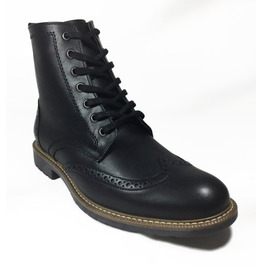 Black Leather Brogue Oxford Boots