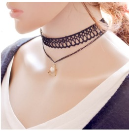 Punk Lace Pearl Triangle Necklace Pendant