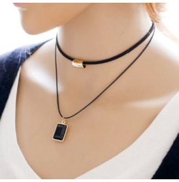 Ms. New Fashion Simple Necklace Double Box Shape Collectibles Necklace