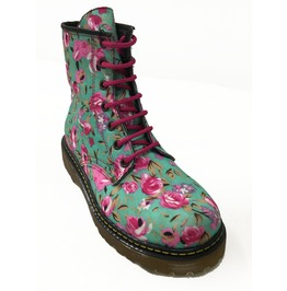 Aqua Flowered Combat Punk Boots