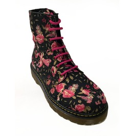 Black Flowered Boho Combat Boots