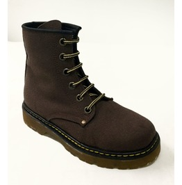 Brown Canvas Vegan Combat Boots