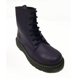 U.P.I.A.B.G. Purple Leather 6 Eyelet Punk Combat Boots Dr Morado