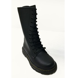 U.P.I.A.B.G. Black Leather 12 Eyelet Tall Unisex Punk Combat Boots Dr Negro