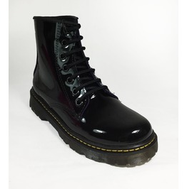 U.P.I.A.B.G. Black Patent Leather 6 Eyelet Combat Boots Dr Negro Charol