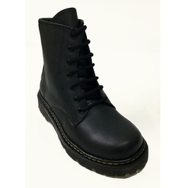 Black Leather Punk Combat Boots