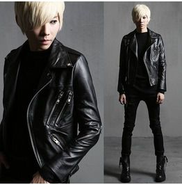 Fashion Slim Zipper Motorcycle Pu Leather Jackets